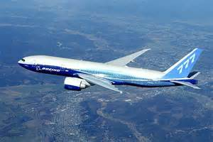 Boeing 777 in flight.